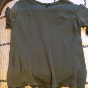 """Forever 21 """"Silk"""" front tee in army green"""